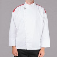 Chef Revival Gold White Size 46 (L) Customizable Metro Long Sleeve Chef Jacket with Red Yoke