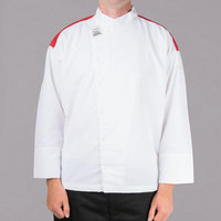 Chef Revival Gold J027RD White Unisex Customizable Metro Long Sleeve Chef Jacket with Red Yoke - XL