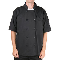 Chef Revival Bronze J109BK-M Black Size 40 (M) Customizable Short Sleeve Double-Breasted Chef Coat - Poly Cotton