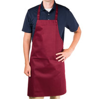 Chef Revival 601NP-BG Customizable Burgundy Bib Apron - 34 inchL x 28 inchW