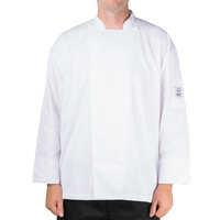 Chef Revival Silver J200-M White Size 40 (M) Customizable Double-Breasted Performance Long Sleeve Chef Jacket with Mesh Back - Poly-Cotton Blend
