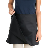 Chef Revival 604FW-BK Customizable Black 4-Way Waist Apron - 17 inchL x 34 inchW