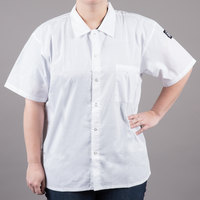 Chef Revival CS006WH-4X Size 60-62 (4X) White Customizable Short Sleeve Cook Shirt - Poly-Cotton Blend