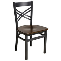 BFM Seating 2130CWAW-SB Akrin Sand Black Steel Side Chair with Cross Steel Back and Walnut Wooden Seat