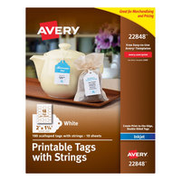 Avery 22848 2 inch x 1 1/4 inch White Scalloped Print-to-the-Edge Tags with Strings - 180/Pack