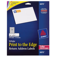Avery 6870 3/4 inch x 2 1/4 inch White Print-to-the-Edge Return Address Labels   - 750/Pack
