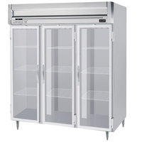 Beverage-Air HRPS3-1G-LED Horizon Series 78 inch Glass Door All Stainless Steel Reach-In Freezer with LED Lighting