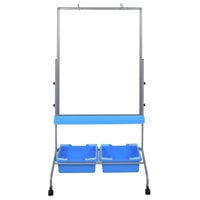 Luxor L330 30 inch x 40 inch Double-Sided Magnetic Classroom Whiteboard with Chart Hooks and Storage Bins