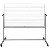 Luxor MB7248MW 72 inch x 48 inch Double-Sided Magnetic Music and Traditional Whiteboard with Aluminum Frame and Stand