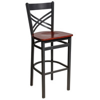 BFM Seating 2130BMHW-SB Akrin Sand Black Steel Bar Height Chair with Cross Steel Back and Mahogany Wooden Seat