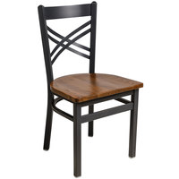 BFM Seating 2130CASH-SB Akrin Sand Black Steel Side Chair with Cross Steel Back and Autumn Ash Wooden Seat