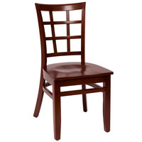 BFM Seating LWC629MHMHW Pennington Mahogany Beechwood Side Chair with Window Wooden Back