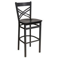 BFM Seating 2130BBLW-SB Akrin Sand Black Steel Bar Height Chair with Cross Steel Back and Black Wooden Seat