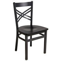 BFM Seating 2130CBLW-SB Akrin Sand Black Steel Side Chair with Cross Steel Back and Black Wooden Seat