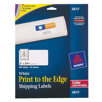 Avery 6873 2 inch x 3 3/4 inch White Print-to-the-Edge Shipping Labels - 200/Pack