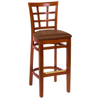 BFM Seating LWB629CHLBV Pennington Cherry Beechwood Bar Height Chair with Window Wooden Back and 2 inch Brown Vinyl Seat