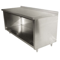 Advance Tabco EF-SS-246 24 inch x 72 inch 14 Gauge Open Front Cabinet Base Work Table with 1 1/2 inch Backsplash