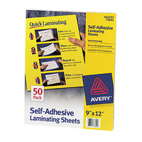 Avery 73601 9 inch x 12 inch Self-Adhesive Laminating Sheets - 50/Box