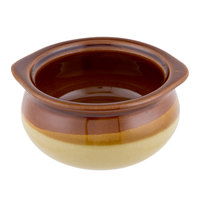 Acopa 12 oz. Brown and Ivory Stoneware Onion Soup Crock / Bowl - 24/Case