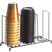 Cal-Mil 1229 Iron Black 3-Section Countertop Cup and Lid Organizer