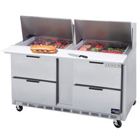 Beverage-Air SPED60HC-24M-4 Elite Series 60 inch 4 Drawer Mega Top Refrigerated Sandwich Prep Table