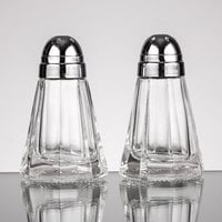 Tablecraft 80S&P 1.5 oz. Paneled Glass Salt and Pepper Shakers with Chrome Plated ABS Tops - 12/Pack