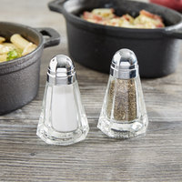 Tablecraft 80S&P 1.5 oz. Paneled Glass Salt and Pepper Shaker with Chrome Plated ABS Top - 12/Pack