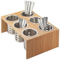 Cal-Mil 1425-6-60 Bamboo 6-Cylinder Horizontal Flatware / Condiment Display