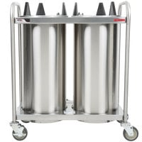 APW Wyott HTL2-10 Trendline Mobile Heated Two Tube Dish Dispenser for 9 1/4 inch to 10 1/8 inch Dishes - 208/240V