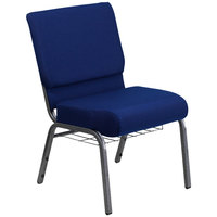 Flash Furniture FD-CH0221-4-SV-NB24-BAS-GG Navy Blue 21 inch Extra Wide Church Chair with Communion Cup Book Rack - Silver Vein Frame