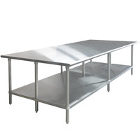Advance Tabco GLG-488 48 inch x 96 inch 14 Gauge Stainless Steel Work Table with Galvanized Undershelf