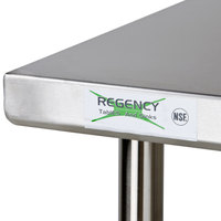 regency 30 inch x 72 inch 16 gauge 304 stainless steel commercial work table with