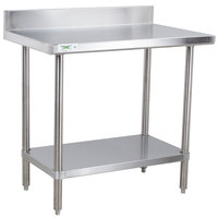"Regency 24"" x 36"" 16-Gauge Stainless Steel Commercial Work Table with 4"" Backsplash and Undershelf"