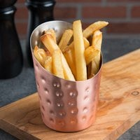 American Metalcraft FFCCH45 12 oz. Hammered Copper Plated Angled French Fry Cup