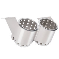 Steril-Sil UB-2 Two Hole Stainless Steel Under Bar Flatware Cylinder Holder