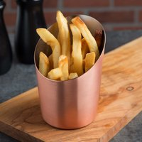 American Metalcraft FFCCS45 12 oz. Satin Copper Plated Angled French Fry Cup