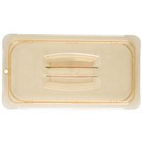 Carlisle 10470U13 StorPlus 1/3 Size Amber Universal High Heat Handled Lid