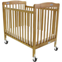 L.A. Baby 888A-N 24 inch x 38 inch Natural Folding Pocket Crib with 3 inch Fire Retardant Mattress