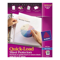 Avery 73803 Quick Load 8 1/2 inch x 11 inch Clear Non-glare Acid-Free Sheet Protectors - 50/Box