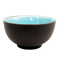 CAC 666-4-BLU Japanese Style 4 3/4 inch China Rice Bowl - Black Non-Glare Glaze Exterior / Lake Water Blue Interior - 36/Case