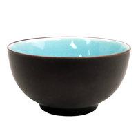 CAC 666-4-BLU Japanese Style 4 3/4 inch Stoneware Rice Bowl - Black Non-Glare Glaze Exterior / Lake Water Blue Interior - 36/Case
