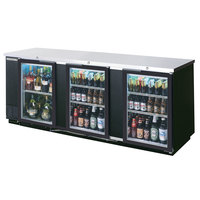 Beverage Air BB94G-1-BK-LED-WINE 94 inch Black Back Bar Wine Series Refrigerator - 3 Glass Doors
