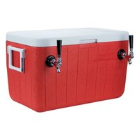 Micro Matic HDCP-D2-48R Red 2 Faucet 48 Qt. Insulated Jockey Box with 10 inch x 15 inch Cold Plate