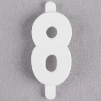 3/4 inch White Molded Plastic Number 8 Deli Tag Insert - 50/Set
