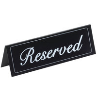 Cal-Mil 283 Black Double-Sided Vinyl Reserved Sign - 9 1/4 inch x 3 inch
