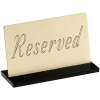 Cal-Mil 956-11 5 inch x 3 inch Gold Reserved Sign