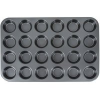 24 Cup 3.5 oz. Non-Stick Carbon Steel Muffin / Cupcake Pan - 14 inch x 20 1/2 inch