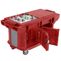Cambro VBRUT6158 Hot Red 6' Versa Ultra Work Table with Storage and Standard Casters