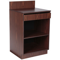 24 inch Walnut Waitress Station with Drawer and Adjustable Shelf