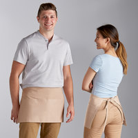 Choice Beige Poly-Cotton Waist Apron with 3 Pockets - 12 inchL x 26 inchW